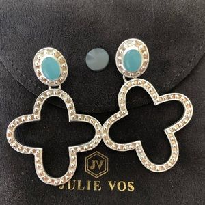 Julie Vos Silver with Blue stone drop earring.